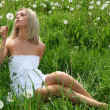 Woman with dandelion - Stock Photo