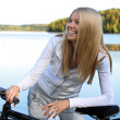 Autumn bicycling — Stock Photo