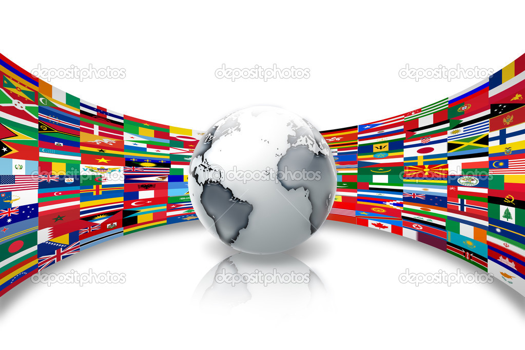 Abstract planet against a background of flags of the world  Stock Photo #3130246