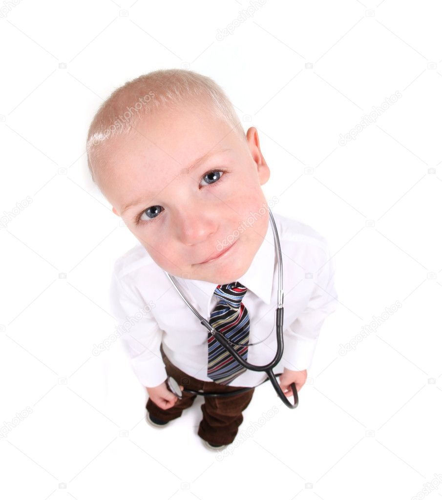 Interested Child Doctor Looking Up at the Viewer on White Background  Stockfoto #2991854