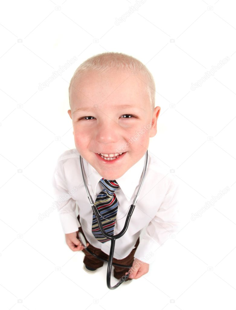 Happy  Fisheye View of Child Doctor on White Background  Stockfoto #2991989