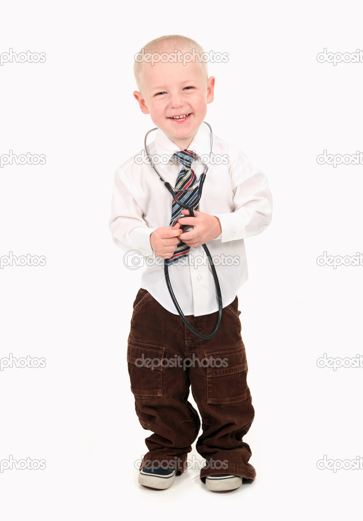 Happy Smiling Boy Pretending to be a Doctor — Foto Stock #2998460