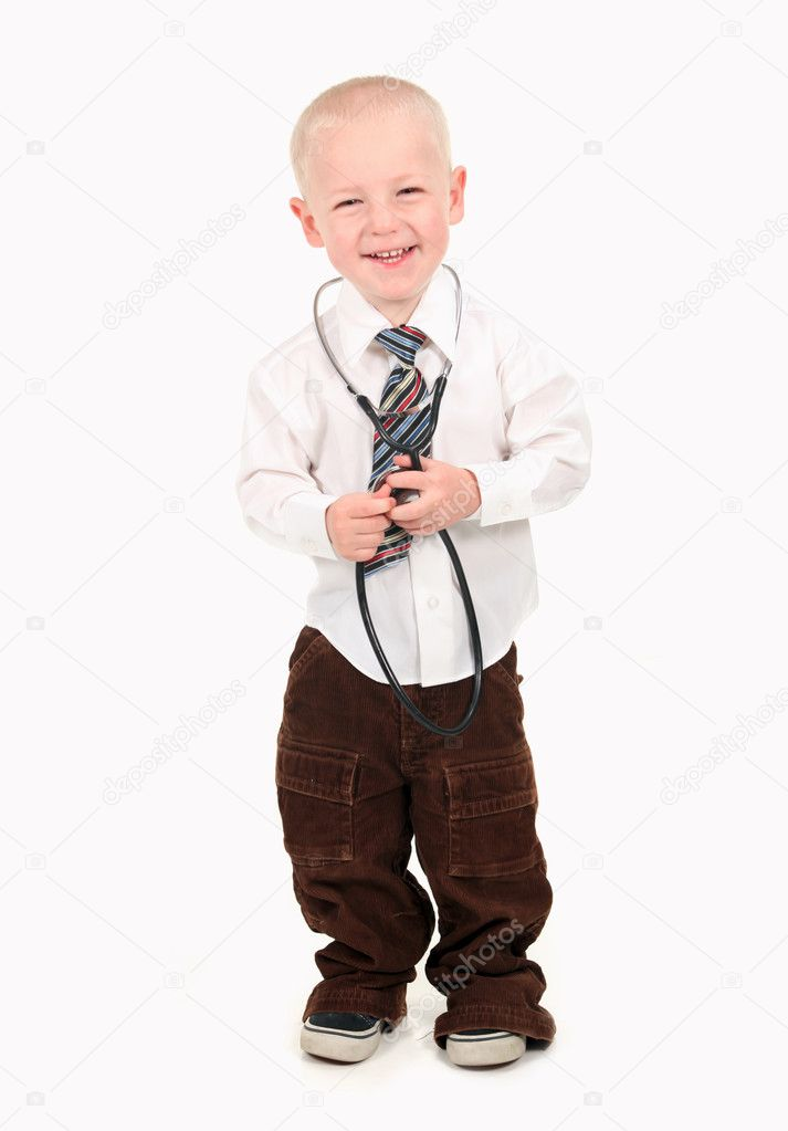 Happy Smiling Boy Pretending to be a Doctor — 图库照片 #2998460