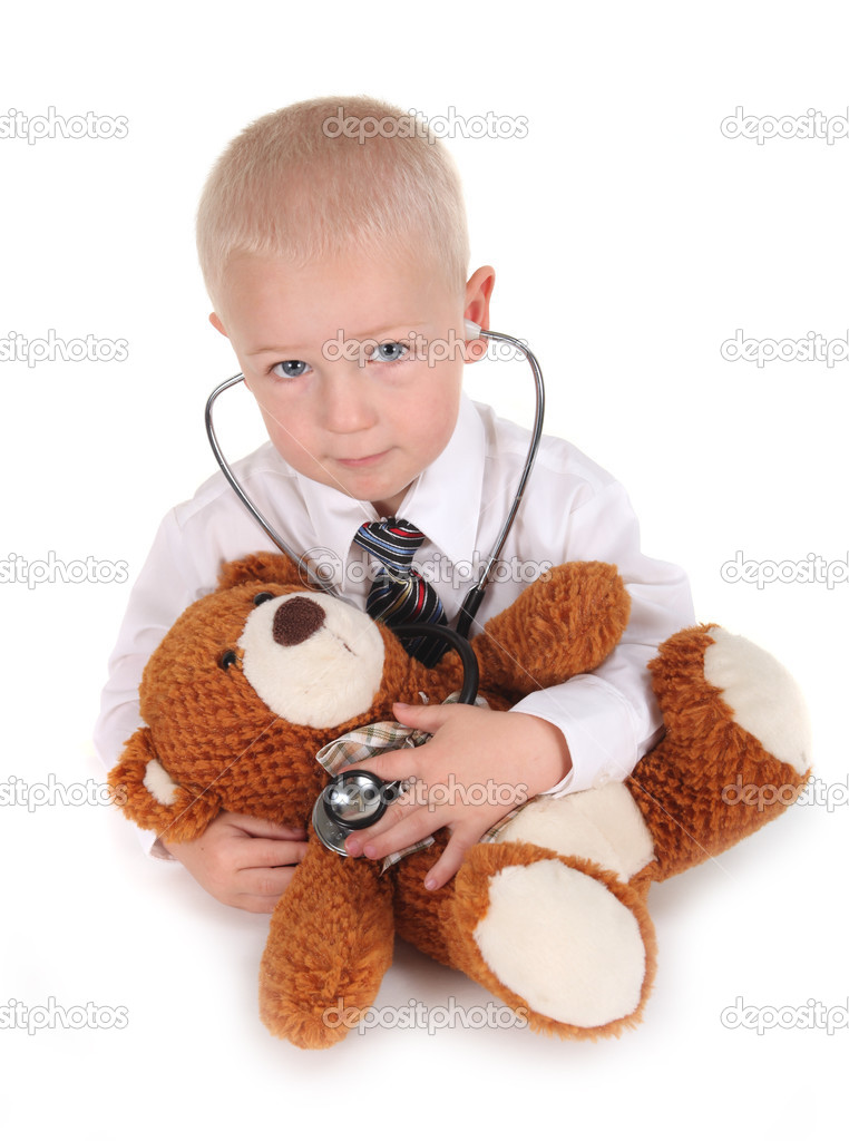 Cute Child Pretending to be a Doctor With his Teddy Bear — Stock Photo #3083318