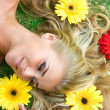 Flowers and blonde — Stock Photo #2860384