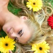 Flowers and blonde — Stock Photo