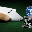 Two aces in hand — Stock Photo