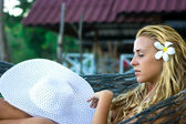 Hammock and lady — Stock Photo