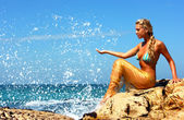 Mermaid at beach — Stock Photo