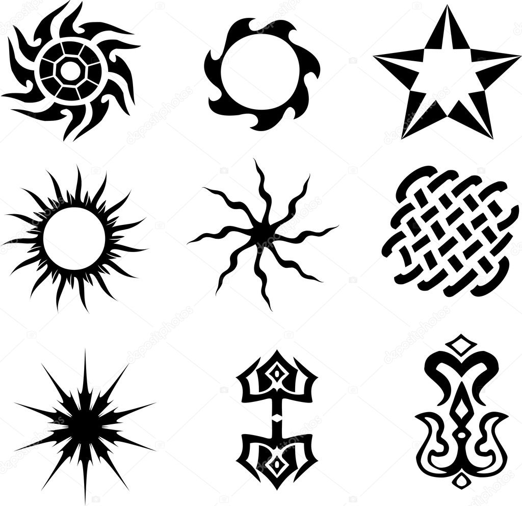 Set of 6 different tattoo