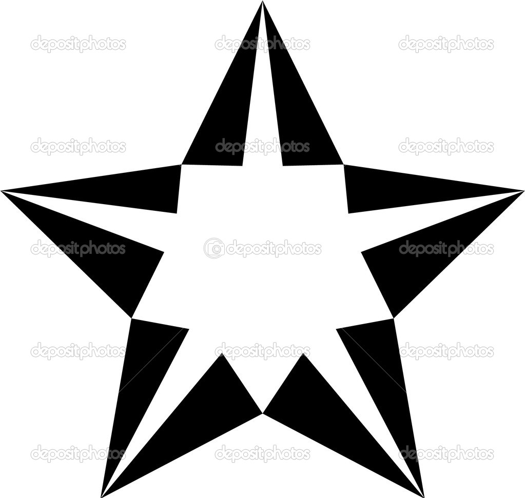 Vector black and white star for tattoo   Stock Photo #2863737