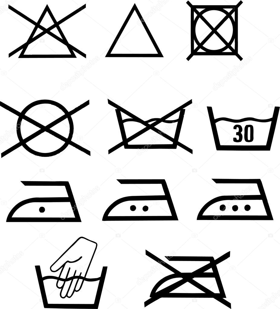 Set of vector illustrated washing pictograms — Stock Photo #2863759