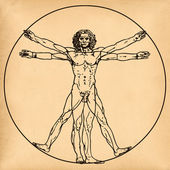 Vitruvian man on old paper background — Stock Photo