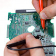 Stock Photo: Printed circuit board and probes