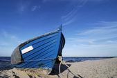 Blue fishing boat — Stock Photo