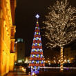 Castle Square view at night, Warsaw — Stock Photo