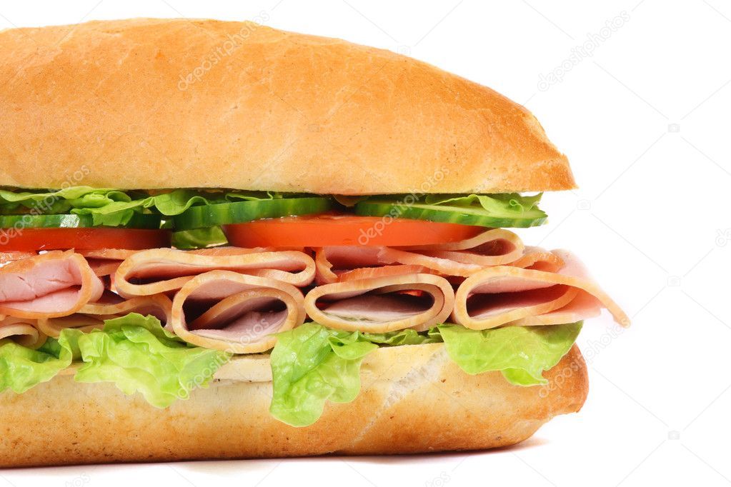 Long sandwich isolated on the white background — Stock Photo #2976184