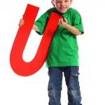 "Letter ""U"" boy — Stock Photo"
