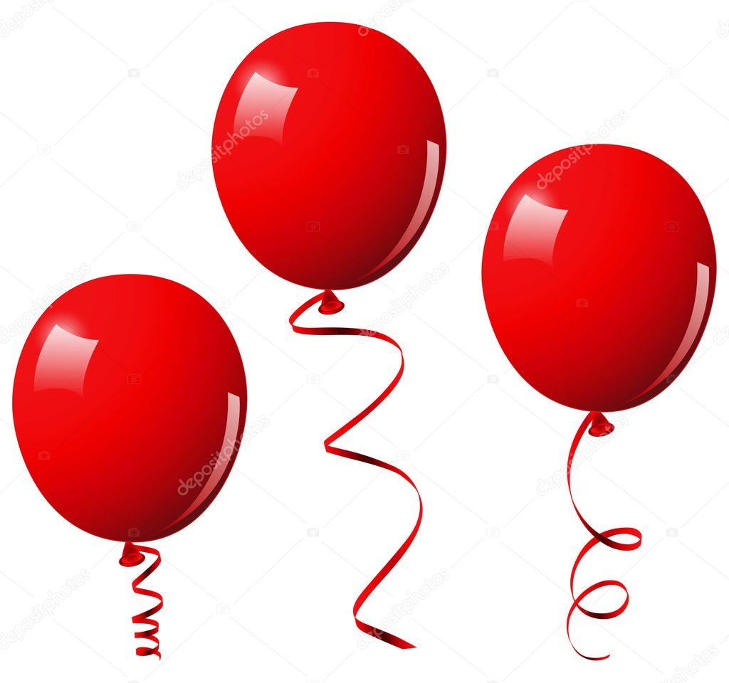 Red balloons. This image is a vector illustration and can be scaled to any size without loss of resolution — Stock Vector #3002880