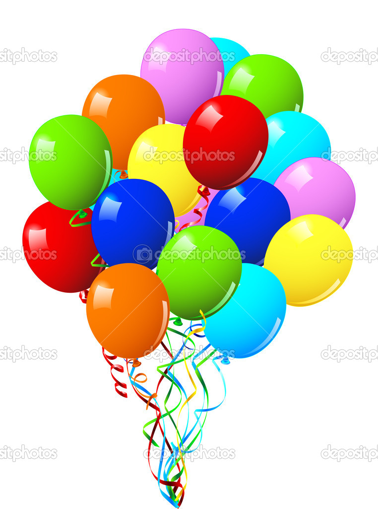 Celebration or birthday Party balloons on a white background — Stock Vector #3002888