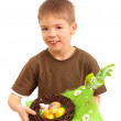Boy and easter nest — Stock Photo