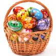Easter Eggs in wicker basket — Stock Photo #3052471