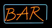 Orange neon bar sign — Stock Photo