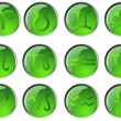 Set of Glossy Zodiac Buttons. - Imagen vectorial