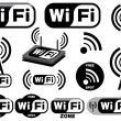Vector collection of wi-fi symbols - Stockvektor