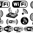Stock Vector: Vector collection of wi-fi symbols