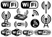 Vektor-reihe von symbolen, wi-fi — Stockvektor