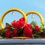 Wedding rings on car — Stock Photo #3863905