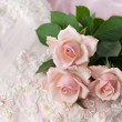 Pink roses on wedding lace — Stock Photo #2784018