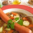 Lentil soup with viennese sausages — Stock Photo