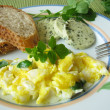 Scrambled eggs with watercress — Stock Photo