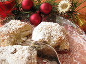 Little christmas stollen, Stollenkonfekt — Stock Photo