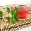 Tea sweetened with fresh Stevia — Stock Photo