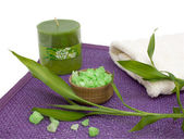 Bath salt, aromatic candle and bamboo — Stock Photo
