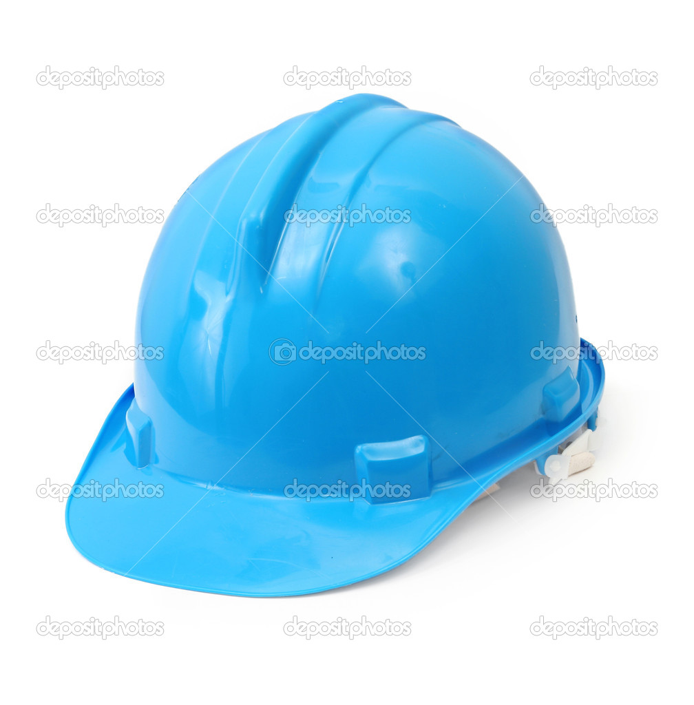 Blue hard hat isolated on white background  Stock Photo #3191967