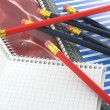 Stock Photo: Notebooks and pencils