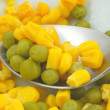 Stock Photo: Green peas and sweetcorn macro