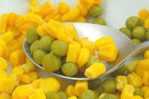 Green peas and sweetcorn macro — Stock Photo