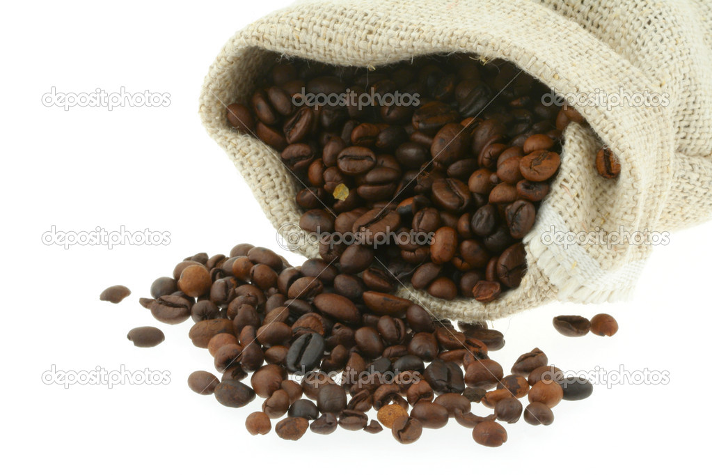 Coffee in burlap sack  Stock Photo #2800410