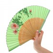 Female hand with decorated fan — Stock Photo