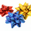 Three colorful bows on whit — Stock Photo