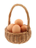 Basket full of eggs — Stock Photo