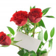Stock Photo: Roses with blank love note