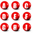 Alphabet made of red 3D balls — Stock Photo