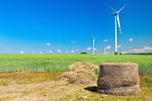 Hay bale with wind turbines — Stock Photo