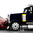 Accident between a car and a truck — Stock Photo